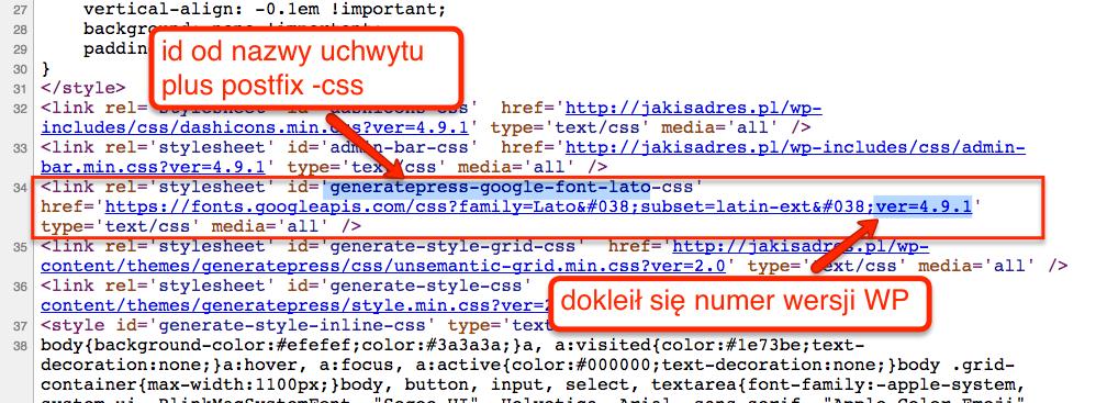 Dodany plik CSS w podglądzie źródła strony