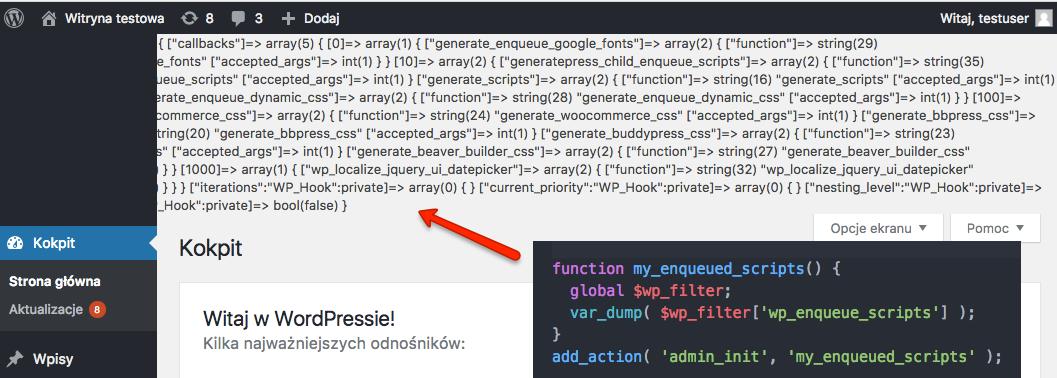 Pogląd wartości zmiennej $wp_filter dla wp_enqueue_scripts