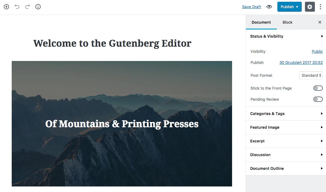 Gutenberg - nowy edytor WordPressa