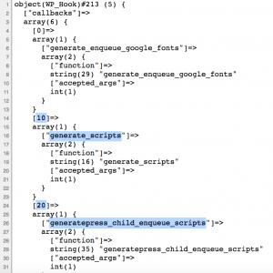 Rys. 2 - Kolejność wywołania funkcji podczepionych pod hook wp_enqueue_scripts przy zmodyfikowanym parametrze priority funkcji add_action