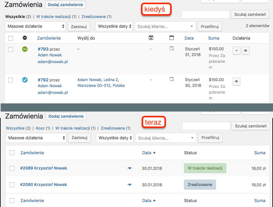 Porównanie ekranu zamówień sprzed i po wdrożeniu WooCommerce 3.3