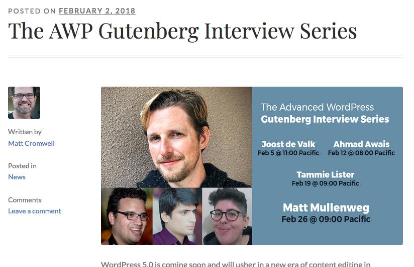 Zapowiedź i linki do wywiadów AWP Gutenberg Interview Series - www.advancedwp.org/awp-gutenberg-interview-series/