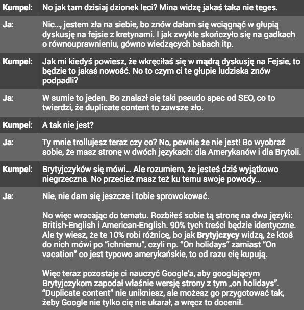 Fragment prezentacji o duplicate content na stronach wielojęzycznych opowiedziany przy piwie