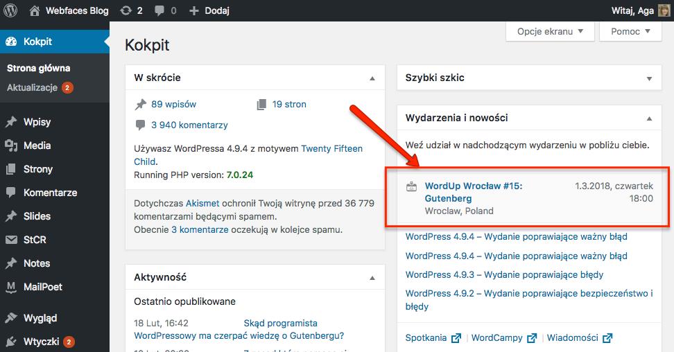 WordPress informuje o WordUpie w moim mieście