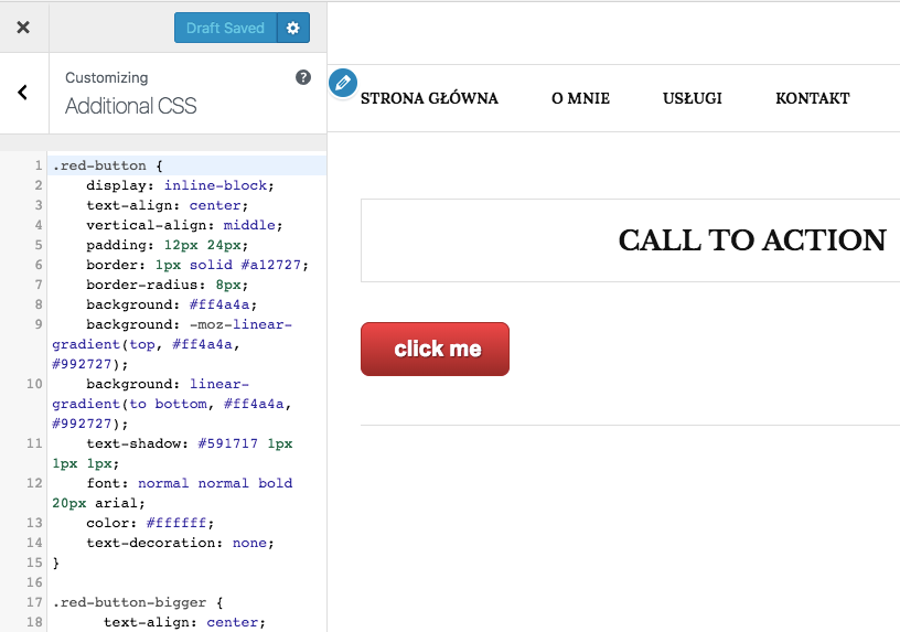Dodawanie CSS przez ekran personallizacji