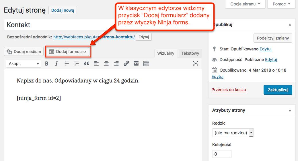 Przycisk Dodaj formularz w klasycznym edytorze