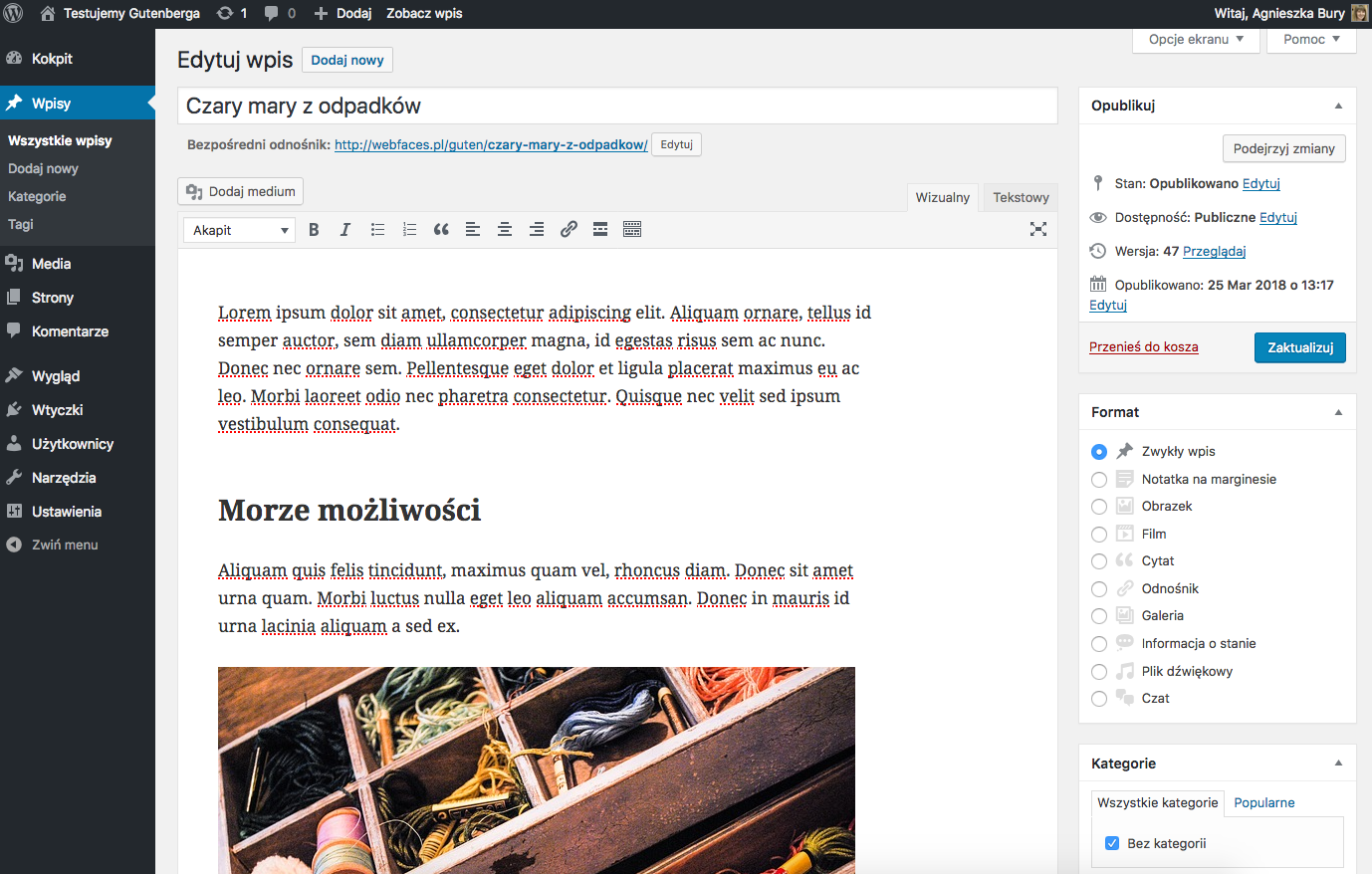 Wpis w klasycznym edytorze WordPressa