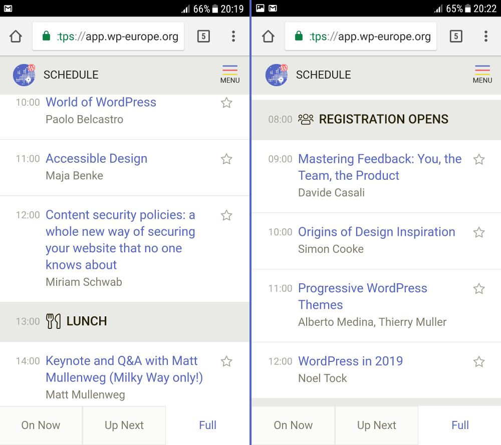 Fragment agendy WordCamp Europe 2018 na aplikacji mobilnej