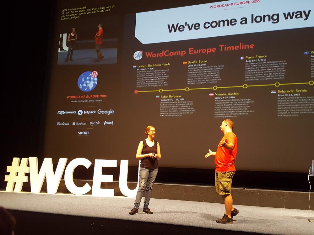 Główni organizatorzy: Jenny Beaumont i Milan Ivanovic otwierają WordCamp Europe 2018
