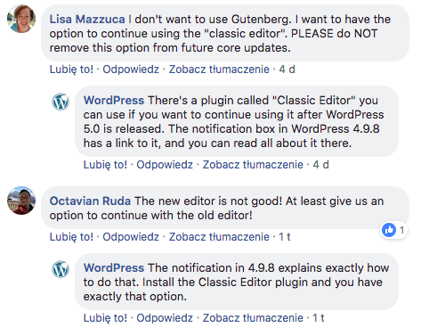 Komentarze na temat Gutenberga z Facebooka