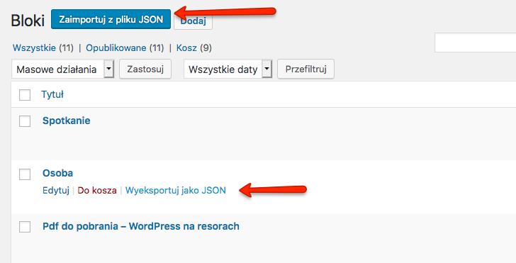 Import bloku z pliku JSON