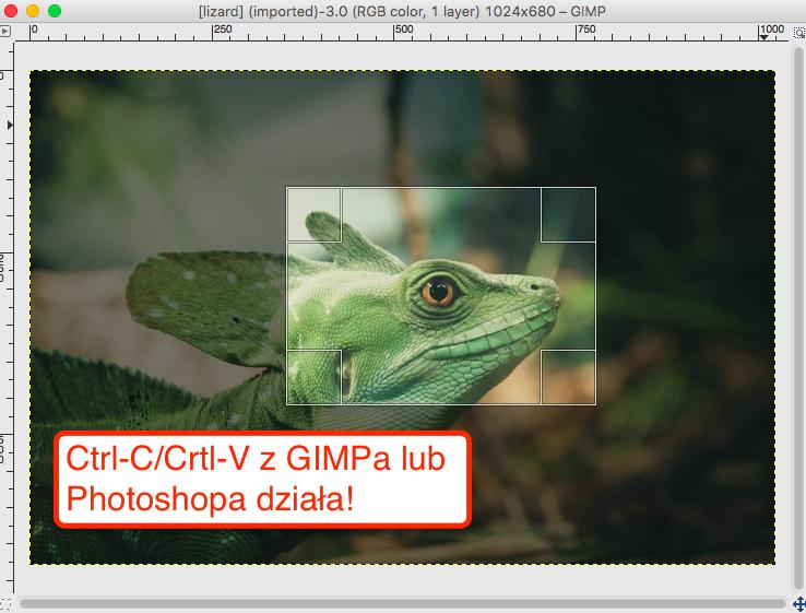 Do nowego edytora możesz kopiować obrazki bezpośrednio z GIMPa lub Photoshopa przez Kopiuj/Wklej