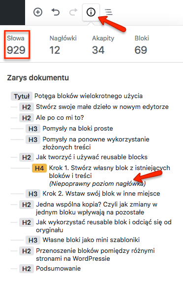 Przykładowy wpis w WordPressie - liczba słów i hierarchia nagłówków
