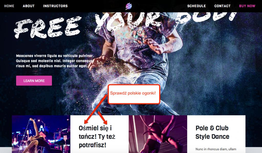 Demo DanceSchool motywu BeTheme - sprawdź polskie znaki