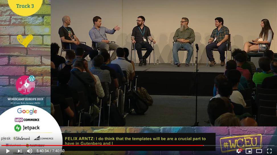 Panel na temat rozwoju Gutenberga. Kard z live streaming WordCamp Eeurope