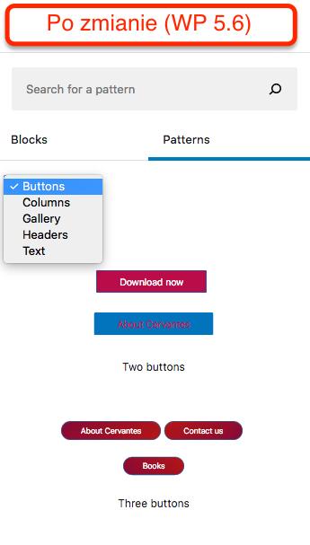 Wzorce w WordPressie 5.6 - filtrowanie po kategorii