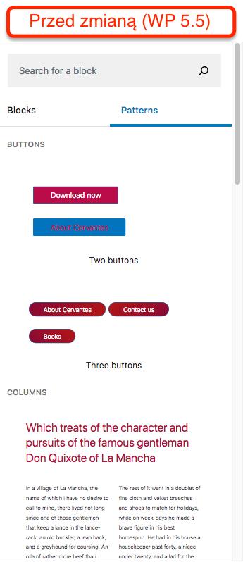 Wzorce w WordPressie 5.5 - jedna długa lista