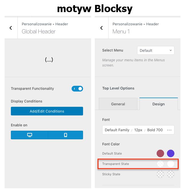 Zarządzanie przezroczystym nagłówkiem w motywie Blocksy