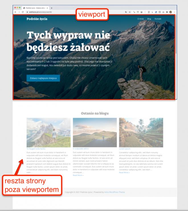 Różnica między widoczną częścią strony (viewport) a całością strony