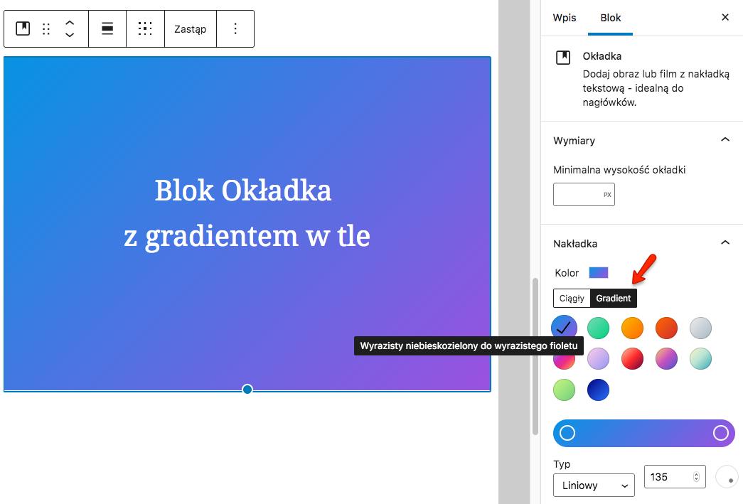 WordPressowy blok Okładka z gradientem w tle