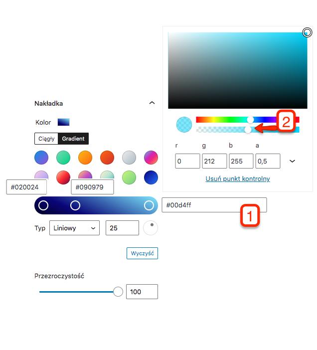 Kolory gradientu gdzie jeden z nich ma ustawioną półprzezroczystość