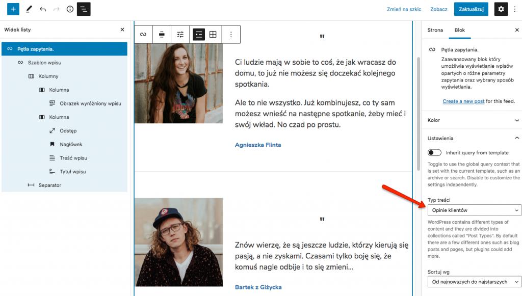 Blok Pętla wyświetlający opinie klientów jako post type