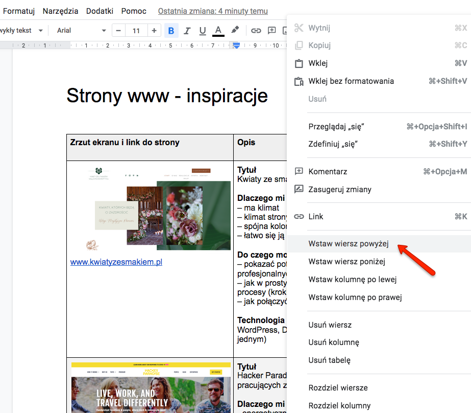 Przykładowy plik z inspiracjami w Google doc - nowe strony lepiej dodawać na początku