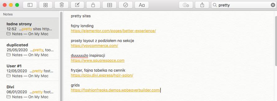 Fragment notatki z mojego notesu na Macu gdzie zapisywałam ciekawe strony